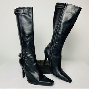 Charles David Black Square Toe Tall Boots Buckles